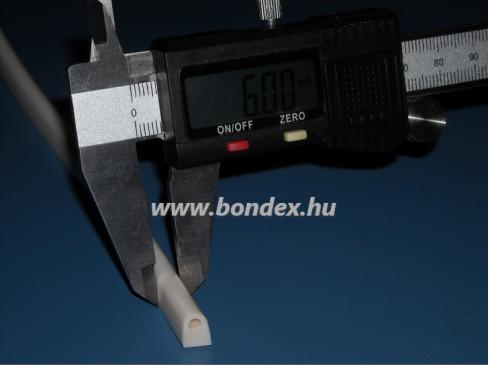 6 mm szélességű szilikon fehér D tömítőprofil