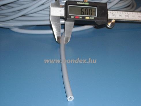3x6 mm-es szürke szilikon tömlő