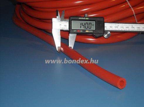 8x14 hőálló vörös szilikon tömlő