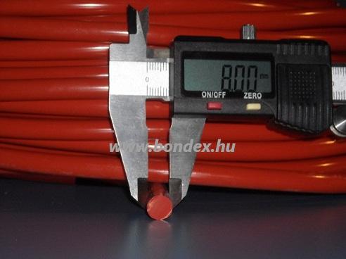 8 mm hőálló vörös szilikon zsinór 250 C