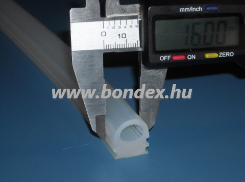 16 mm széles bordás kemence tömítő szilikon D profil