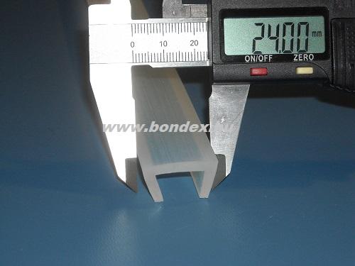 Szilikon élvédő profil 16 mm vastag lemez élre